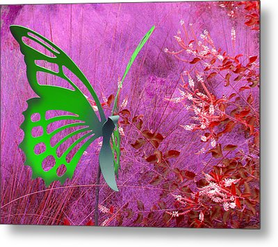 Metal Print featuring the photograph The Green Butterfly by Rosalie Scanlon