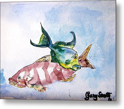 Metal Print featuring the painting The Grouper And Friend by Gary Smith