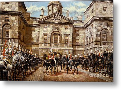 The Guard Mounting  The Horse Guards At Whitehall  Metal Print by Harry Payne and Arthur Charles