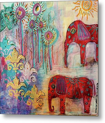 Metal Print featuring the mixed media The Guardians Of Night And Day by Mimulux patricia no No