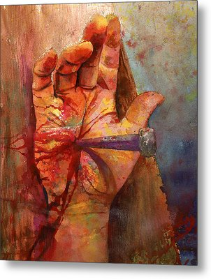 Metal Print featuring the painting The Hand Of God by Andrew King