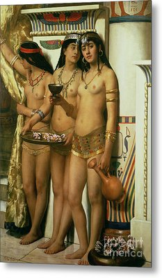 The Handmaidens Of Pharaoh Metal Print by John Collier