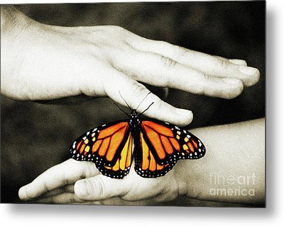 The Hands And The Butterfly Metal Print by Andee Design