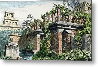 The Hanging Gardens Of Babylon Metal Print by Ferdinand Knab