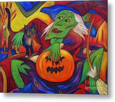 Metal Print featuring the painting The Happy Witch Cat And Pumpkin by Dianne  Connolly