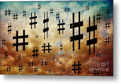 Metal Print featuring the digital art The Hashtag Storm by Andee Design