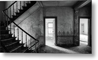 The Haunted Staircase - Abandoned Building Bw Metal Print by Dirk Ercken