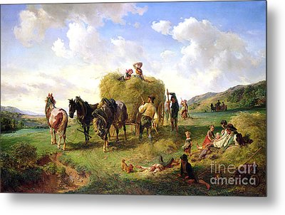 The Hay Harvest Metal Print by Hermann Kauffmann
