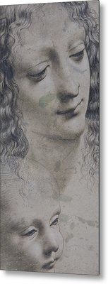 The Head Of A Woman And The Head Of A Baby Metal Print by Leonardo Da Vinci