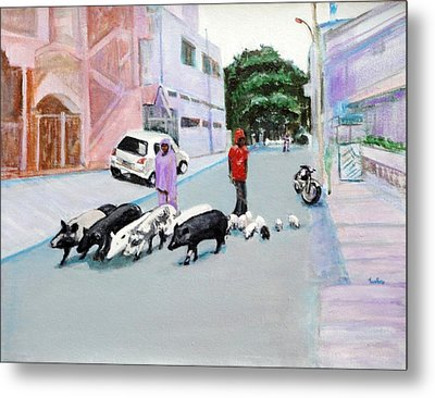 The Herd 5 - Pigs Metal Print by Usha Shantharam