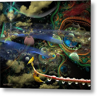 Metal Print featuring the digital art The History Of The Bioluminoidal Fractalization Process by Rhonda Strickland