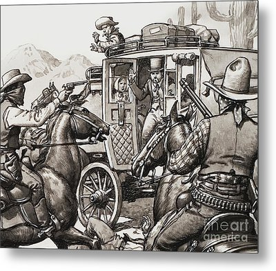 The Hold Up Of The First Stage Coach To Pass Through Palm Springs Metal Print by Pat Nicolle