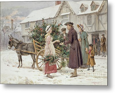 The Holly Cart Metal Print by George Goodwin Kilburne