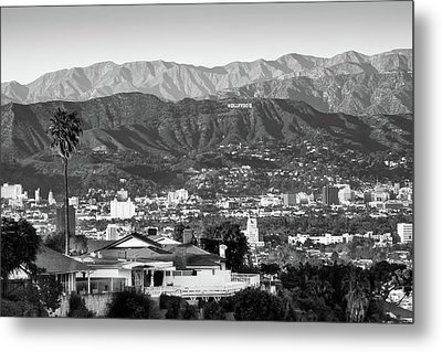 Metal Print featuring the photograph The Hollywood Hills Urban Landscape - Los Angeles California Bw by Gregory Ballos