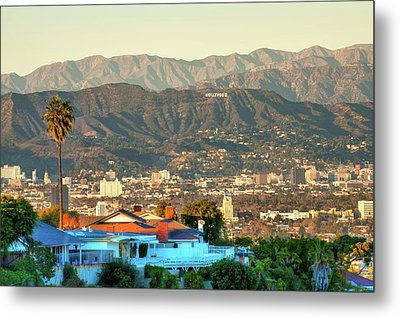Metal Print featuring the photograph The Hollywood Hills Urban Landscape - Los Angeles California by Gregory Ballos