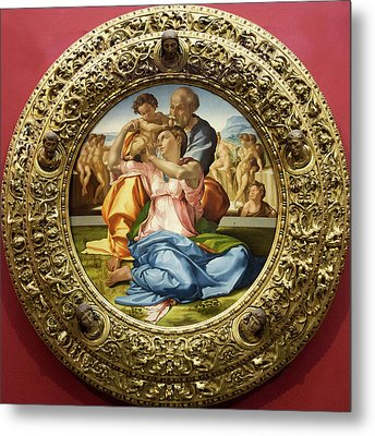 The Holy Family - Doni Tondo - Michelangelo - Round Canvas Version Metal Print