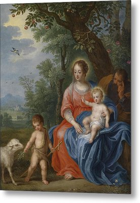 The Holy Family With John The Baptist And The Lamb Metal Print by Jan Brueghel the Younger