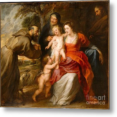 The Holy Family With Saints Francis And Anne And The Infant Saint John The Baptist Metal Print by Celestial Images