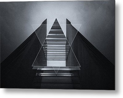 The Hotel Experimental Futuristic Architecture Photo Art In Modern Black And White Metal Print by Philipp Rietz