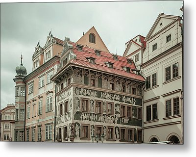 The House At The Minute With Graffiti At Old Town Square  Metal Print