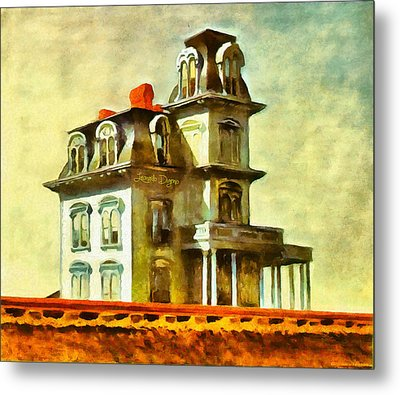 The House Of The Railroad By Hopper Revisited Metal Print