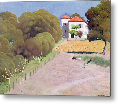 The House With The Red Roof Metal Print by Felix Edouard Vallotton