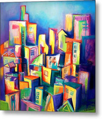 Metal Print featuring the painting The Houses by Kim Gauge