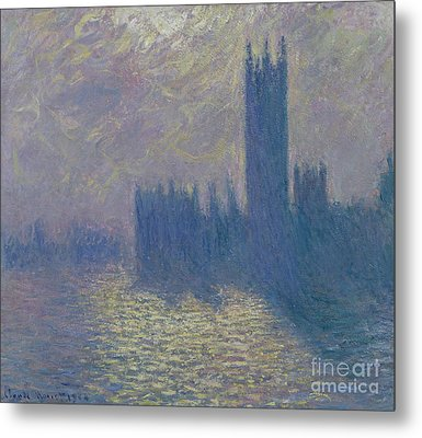 The Houses Of Parliament Stormy Sky Metal Print by Claude Monet