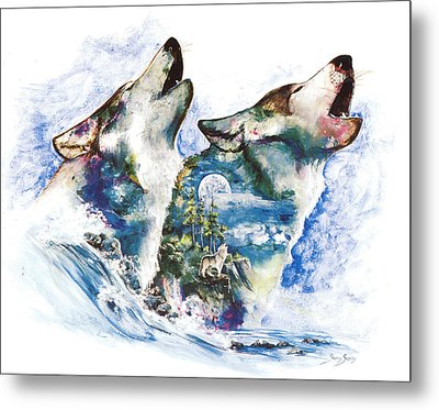 Metal Print featuring the painting The Howl by Sherry Shipley