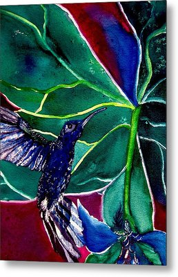 Metal Print featuring the painting The Hummingbird And The Trillium by Lil Taylor