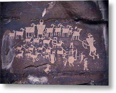 The Hunt Scene- Ancient Pueblo-anasazi Metal Print by Ira Block
