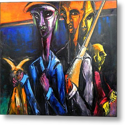 Metal Print featuring the painting The Hunters by Kenneth Agnello