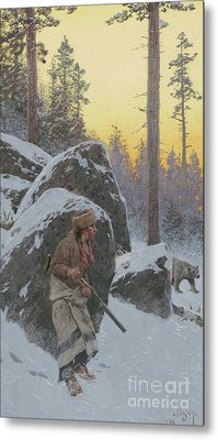The Indian Bear Hunter, 1911 Metal Print