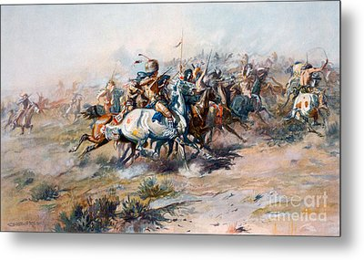 The Indian Encirclement Of General Custer At The Battle Of The Little Big Horn Metal Print by Charles Marion Russell