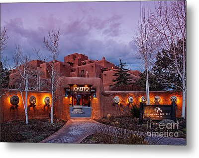 The Inn At Loretto At Twilight - Santa Fe New Mexico Metal Print