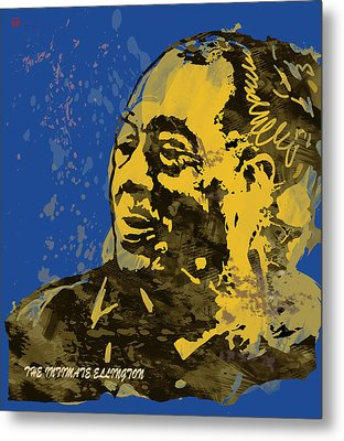 The Intimate Ellington Pop Stylised Art Sketch Poster Metal Print