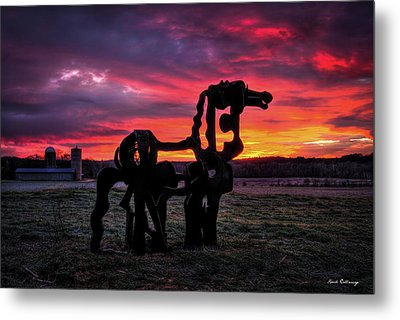 The Iron Horse Sun Up Metal Print by Reid Callaway