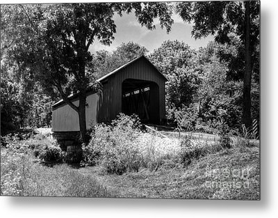 The James Covered Bridge Bw Metal Print by Mel Steinhauer