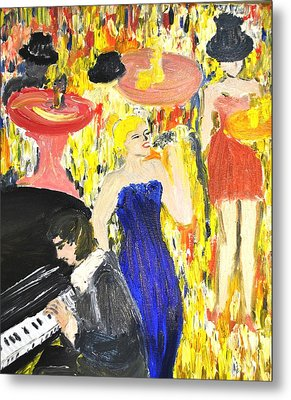 Metal Print featuring the painting The Jazz Singer by Evelina Popilian