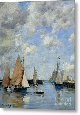The Jetty At High Tide Metal Print by Eugene Louis Boudin