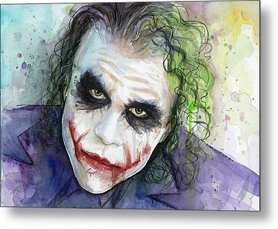 The Joker Watercolor Metal Print by Olga Shvartsur