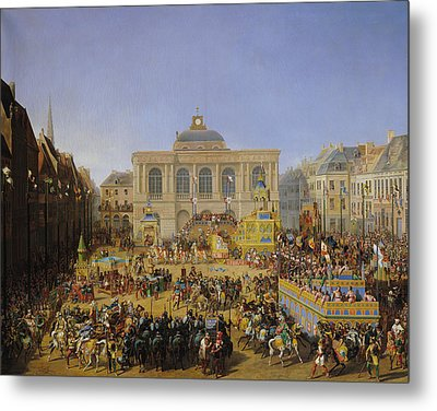 The Kermesse At Saint-omer In 1846 Metal Print by Auguste Jacques Regnier
