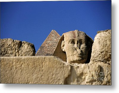 The Khephren Pyramid And The Great Sphinx Of Giza Metal Print by Sami Sarkis