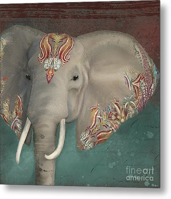 Metal Print featuring the painting The King - African Bull Elephant - Kashmir Paisley Tribal Pattern Safari Home Decor by Audrey Jeanne Roberts