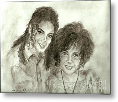 The King Of Pop And Elizabeth Taylor Metal Print