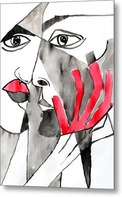 The Kiss In Red Metal Print by Jorge Berlato