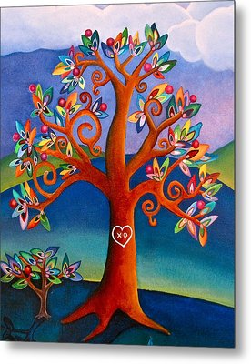 Metal Print featuring the painting The Kissing Tree by Lori Miller