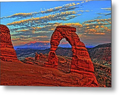 Metal Print featuring the photograph The La Sal Mountains And Arch by Scott Mahon