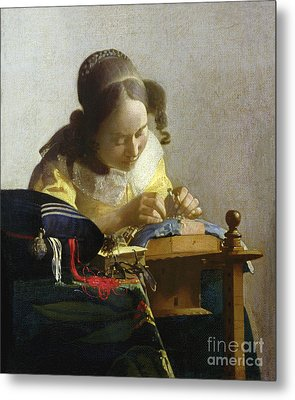 The Lacemaker Metal Print by Jan Vermeer