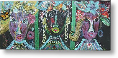 The Ladies From Cowville Metal Print by Anne-Elizabeth Whiteway